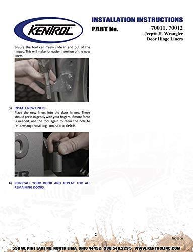 Door Bushing Removal Tool Included Kentrol 70012 Black Door Hinge Liners for Jeep Wrangler JL 4 Door