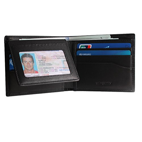 Leather Wallet for Men,Vonxury RFID Blocking Bifold Cowhide Vintage Wallet with 8 Card Slots Double ID Window Black ()