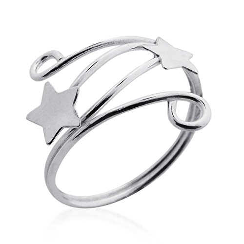 Shooting Stars Wrap Swirl Wire Sterling Silver Toe Ring or Pinky Ring (Silver Toe Ring Swirl Sterling)