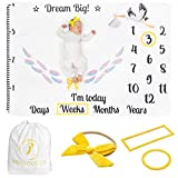Precious Co Baby Monthly Milestone Blanket Set Large 60''x40'' | Bonus Headband/Bow tie + Drawstring Bag + Frames |100% Soft Flannel | Girl Boy Twins Newborn Photography Prop