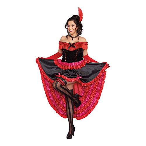 Dreamgirl Women's Plus-Size Can-Can Cutie Costume, Red/Black, 1X/2X