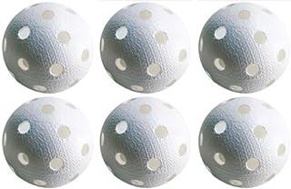 Kit de 6 balles de Floorball & Unihockey | Realstick | Couleur : Blanc | Balle de compétition + Balle d'entraînement certificat FIF pour une qualité contrôlée Tonnisport Oy