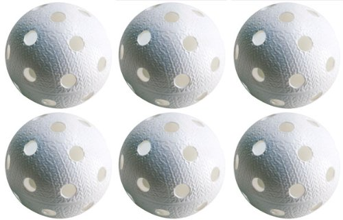 Realstick Floorball & Unihockey Ball 6er Set Farbe: Weiß | Wettkampfball + Trainingsball mit IFF Zertifikat für geprüfte Qualität SB-Yhtiöt Oy