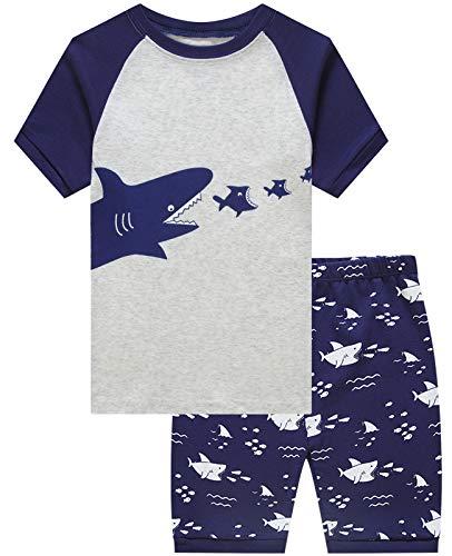 Little Boys Short Pajamas Shark Snug Fit Cotton Toddler Pjs Summer Clothes Shirts 3t