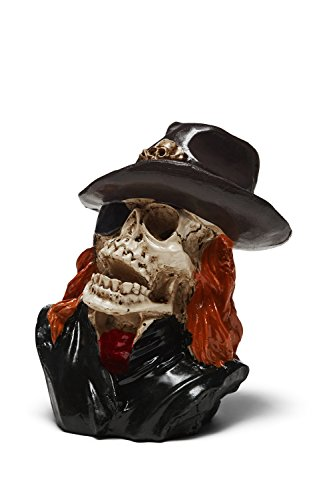 Skull Holder Skeleton Statuette Figurine Scary Halloween Spooky Death Male Macho (Ivory, Black, Pirate) (Mini Pirate Skull Figurine)