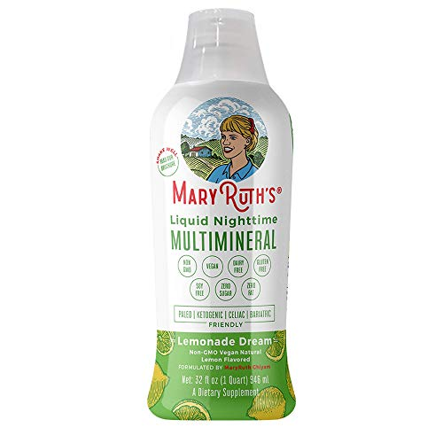 VEGAN LIQUID NIGHTTIME MULTIMINERAL by MARYRUTH - Highest Purity Ingredients, Vitamins, Minerals, Magnesium & MSM builds tissue providing for a deeper sleep & less stress (Lemonade Dream)