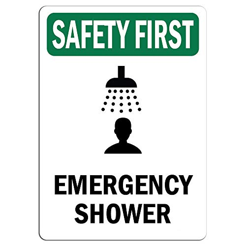 Safety First Sign - Emergency Shower Bilingual |   Label Decal Sticker Retail Store Sign Sticks to Any Surface 8