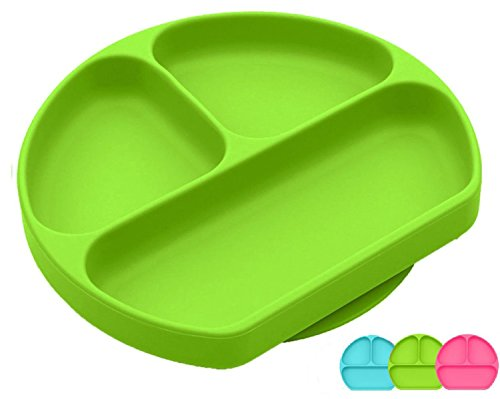 SiliKong Silicone Suction Plate for Toddlers, Fits Most Highchair Trays, BPA Free, Divided Baby Feeding Bowls Dishes for Kids (Green)