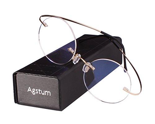 Agstum Pure Titanium Round Prescription Rimless Glasses Frame 46mm