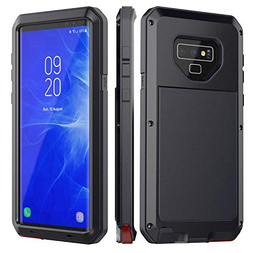 (Galaxy Note 9 Case,Lilycase Armor Heavy Duty Hybrid Aluminum Metal Shockproof Military Shockproof Hard Cover for Samsung Galaxy Galaxy Note 9 Newest - Black)