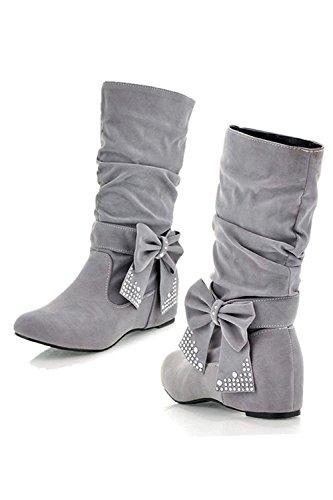 TOOGOO (R)Damen mode mittlere hoch flach Schleife Slouch Stiefel grau 36