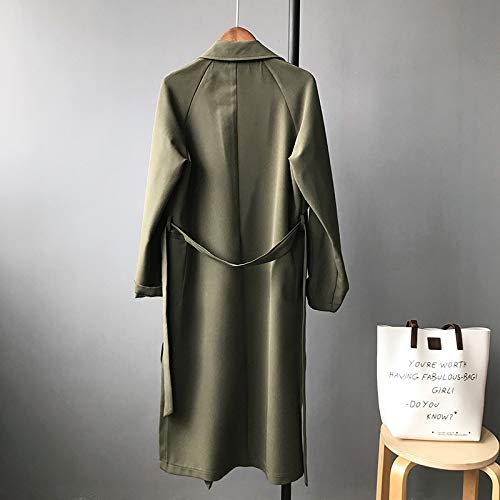Outwear Verde Windbreaker De Largos Mujeres Primavera Mujer Unicolor Color Manga Casual Sólido Solapa Gabardina Anchos Abrigos Otoño Larga Casuales UwAqtxBCB