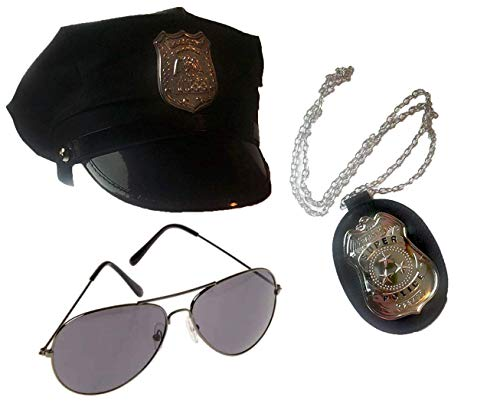 Police Costume Accessory Set- Hat, Glasses, and -