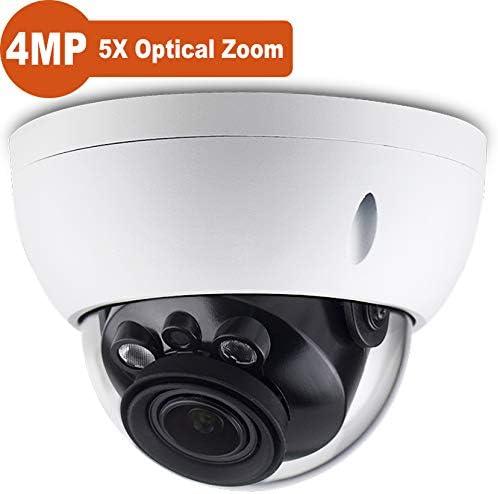 4MP Outdoor Security PoE IP Camera HDBW4433R-ZS, 2.7-13.5mm Motorized Varifocal Lens 5X Optical Zoom, 2K HD 2592 1520 , Network Camera Dome, IR Night Vision 164ft, IP67, IK10, ONVIF