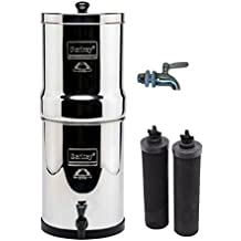 Travel Berkey Stainless Steel Water Filtration System w/ STAINLESS STEEL SPIGOT and 2 Black Filters