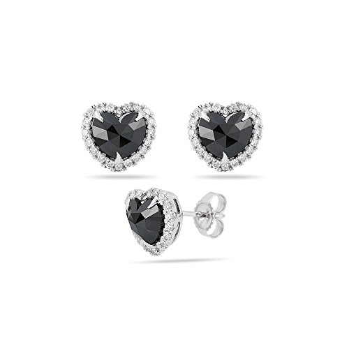 1.75 Cts Black & White Diamond Heart Earrings in 14K White Gold (14k Diamond Gold Heart Earrings)