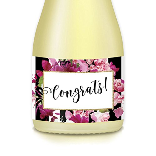 "CONGRATS! Mini Champagne & Wine Bottle Labels, Set of 20 All Occasion Decals Celebrate Birthday Milestone, Anniversary, Engagement Bachelorette Party, Graduation or Retirement, 3.5"" x 1.75"" Stickers"