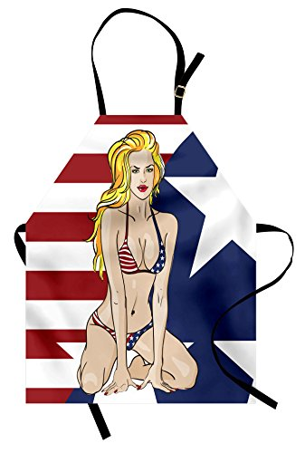 Girls Apron By Ambesonne, Blonde Top Model American Woman Wearing Usa Flag Swimsuit Western 4th Of July Theme Print, Unisex Kitchen Bib Apron With Adjustable Neck For Cooking Baking Gardening, Multi Picture