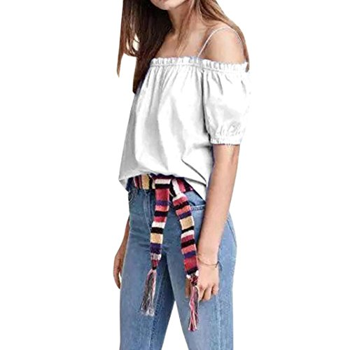 Wintialy Women's Summer Off Shoulder Blouses Short Sleeves Sexy Tops Casual T - Club Sunglasses Jeans