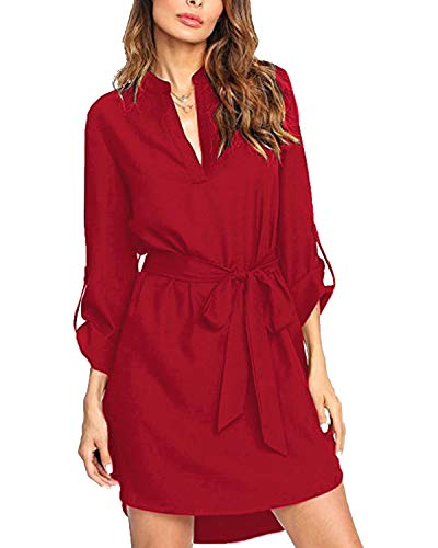 - kenoce Blouse Dress for Women V Neck Check Plaid Loose Roll-up Sleeve T Shirt Dresses Causal Long Tunic Tops Wine Red L