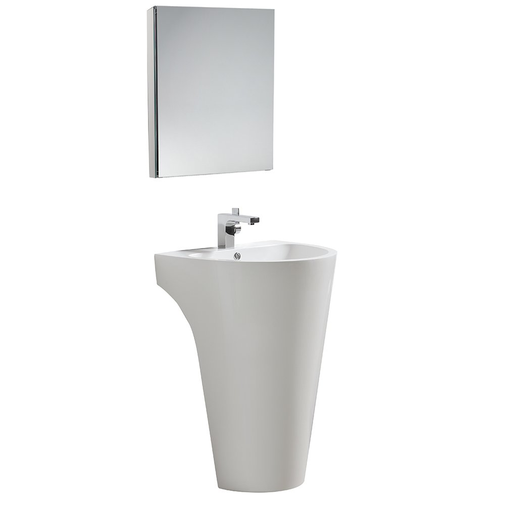 fresca bath fvn5023wh parma pedestal vanity sink with medicine cabinet white amazoncom