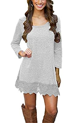 Our Precious Women's Long Sleeve Tunic Lace Stitching Trim Casual Dress