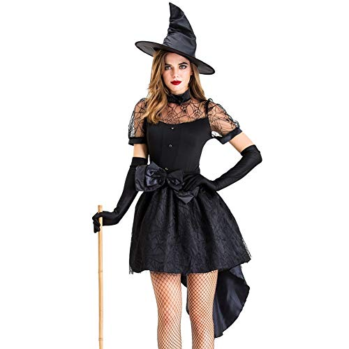 Halloween Party Decor Cape Town (LGW Adult Women's Witch Halloween Costume Ghost Town Black Party Dress Set Gothic Adult Sexy Masquerade)
