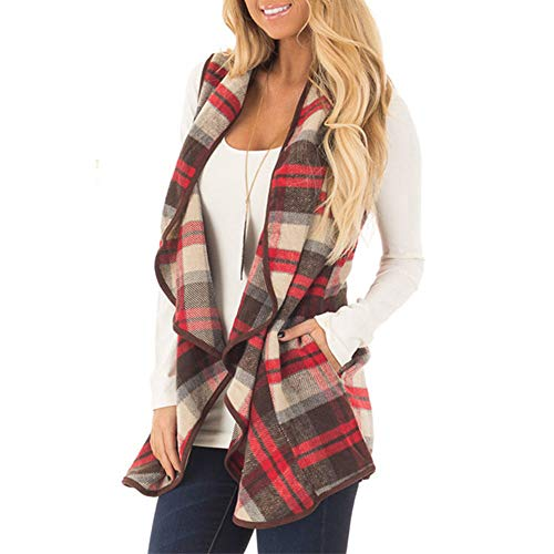 CUCUHAM Womens Vest Plaid Sleeveless Lapel Open Front
