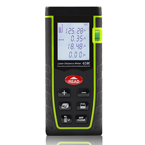 ing Device, 131ft Handheld Laser Tape Measure with Pythagorean Mode, Area & Volume Calculation Laser Measure Rangefinder (AAA Batteries Include) (Square Tape Measure)