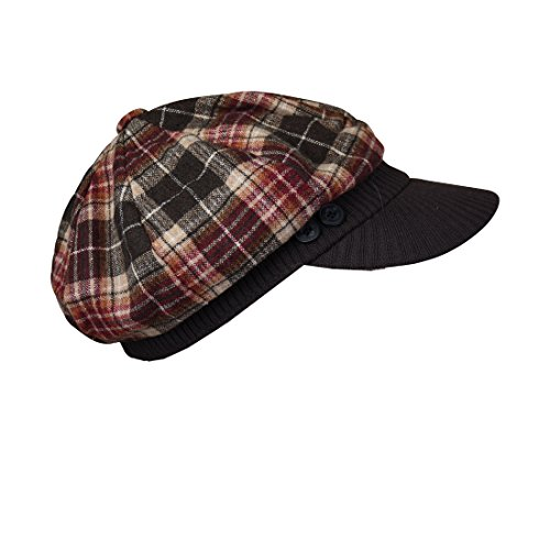 Brown Plaid Winter Cap With...