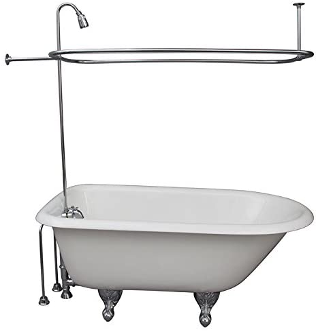 Clawfoot Tub Chrome Add A Shower Unit w// Riser /& Shower Head Diverter Faucet