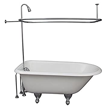 R2200br Clawfoot Tub Shower Faucet Rectangular Combo Set Chromed