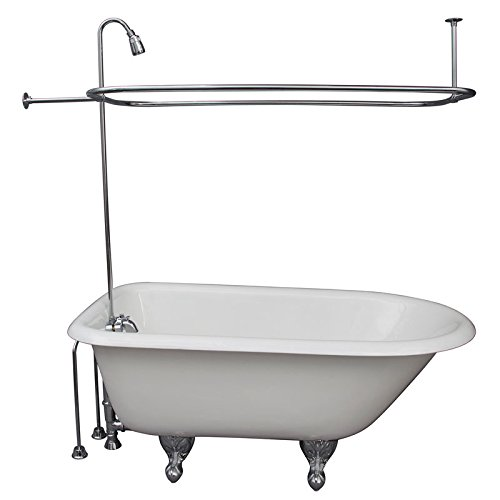 Clawfoot Tub Plumbing Fixtures - R2200BR Clawfoot Tub Shower Faucet & Rectangular Combo Set (Chromed Brass)