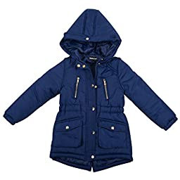 [397522DH-PrimaryNavy-4T] Girl\'s Padded Jacket: Zip-Up Coat, Hood, High Low