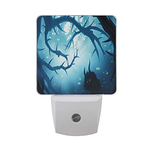 Colorful Plug in Night,Animal with Burning Eyes The Dark Forest at Night Horror Halloween Illustration,Auto Sensor LED Dusk to Dawn Night Light Plug in Indoor for Childs Adults -