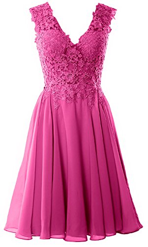 MACloth Gorgeous V Neck Cocktail Dress Short Lace Prom Homecoming Formal Gown Begonia