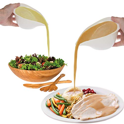 LED LEADER Sauce Server Serving Warming Set,Gravy Boat Dip Bowl,Pourer Salad Dressing- Set of 2