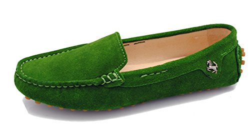 Shoes TDA Driving On Comfortable Trail Boat Leather Green Slip Flats Running Womens Dark Walking 1q8AU