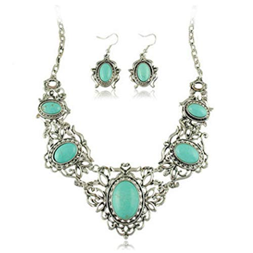 - Artmiss Boho Necklace Drop Earring Set Jewelry Turquoise Silver Flower Collar for Women