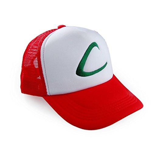 Pokemon Ash Ketchum Baseball Snapback Cap Trainer Hat for Adult Embroidered (Red - Adjustable (Adult Ash Costume)