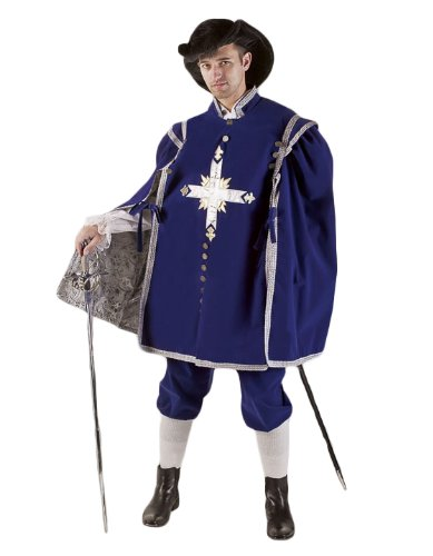 [Men's Deluxe Musketeer Theatrical Quality Costume, Royal Blue, XXLarge] (Three Musketeers Costume)