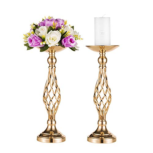 "Pcs of 2 Metal Vase for Wedding Centerpieces Decoration-Artificial Flower Arrangement-Pillar Candle Holder Stand Set for Wedding Party Dinner Event Centerpiece Home Decor (2x17.7"" H, Twist Style)"