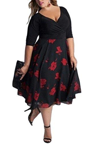 Suvotimo Womens Profundo Cuello En V Vestido De Coctel De Ajuste Y Flare Plus Tamaño Vestidos De Midi 1 XXL