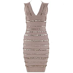"Lumé Women's ""LORIA"" Nude Jewel Stripe Dress SIZE (XS)"