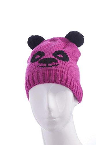 Chic-Net KinderTiermütze Beanie Mütze Skimütze Tiergesicht Bär in Pink Schwarz