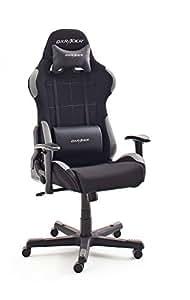 Robas Lund DX Racer 5 - Silla de escritorio/oficina/gaming, Negro/Gris, 74 x 52 x 123-132cm