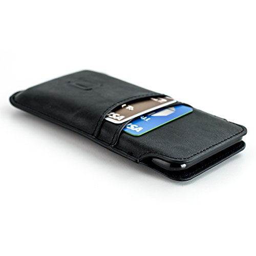 Dockem Wallet Sleeve for iPhone 8, iPhone 7, 6S and 6 - Vintage Synthetic Leather Card Case; Ultra Slim Professional Executive Pouch Cover with 2 Card Holder Slots, Black