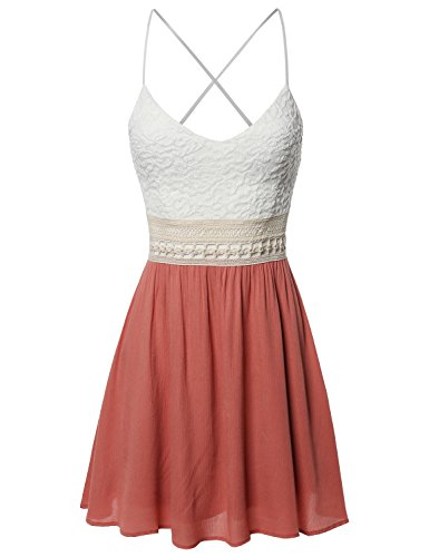 (Sleeveless Spaghetti Strap Lace Detail Baby Doll Dress - Made in USA Cinnamon S )