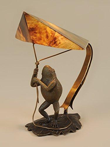 Maitland Smith 1754-879 Pompeian Bronze Finished Cast Brass Decorative Frog Lamp, Tiger Penshell Shade
