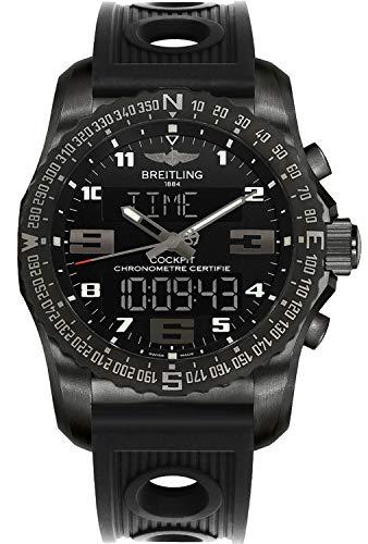 (Men's Breitling Cockpit B50 Black Titanium Sports Watch with Rubber Strap)
